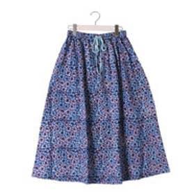 カプワ kapuwa bouquet柄コットン裏起毛スカート【ブルー】 (blue)