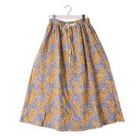 カプワ kapuwa bouquet柄コットン裏起毛スカート【イエロー】 (yellow)