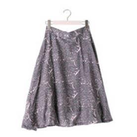 カプワ kapuwa Dahlia柄セミサーキュラースカート【グレー】 (gray)