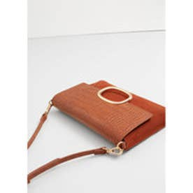 マンゴ MANGO Leather cross body bag (medium brown)