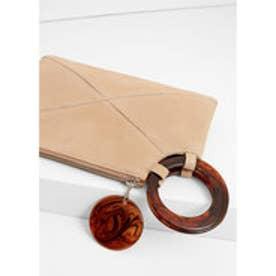 マンゴ MANGO Zipped leather clutch (lt-pastel pink)