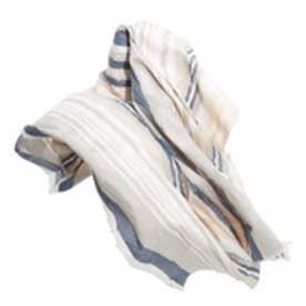 マンゴ MANGO Stripe-pattern cotton scarf (lt pastel grey)