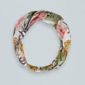 マンゴ MANGO Floral cotton hairband (medium green)