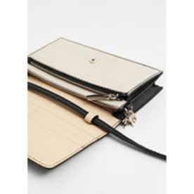マンゴ MANGO Contrast flap wallet (black)