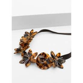 マンゴ MANGO Flower necklace (dark brown)