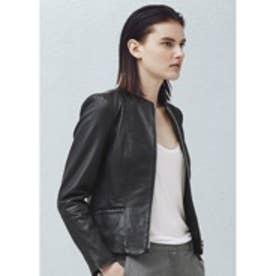 マンゴ MANGO Pocket leather jacket (black)