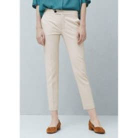 マンゴ MANGO Straight cotton trousers (lt pastel brown)