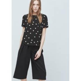 マンゴ MANGO Chest-pocket printed blouse (black)