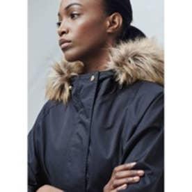 マンゴ MANGO Faux fur hood coat (navy)