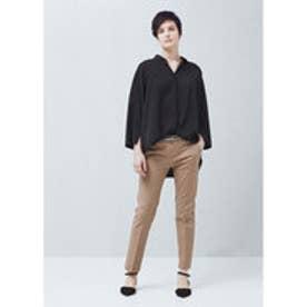 マンゴ MANGO Belt cotton-blend trousers (light beige)