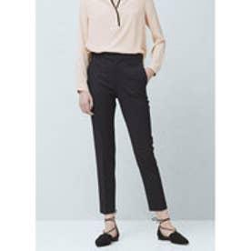 マンゴ MANGO Straight cotton trousers (black)