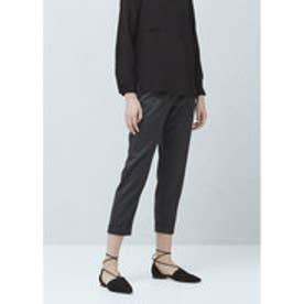 マンゴ MANGO Herringbone pattern trousers (dark grey)
