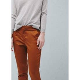 マンゴ MANGO Straight cotton trousers (medium brown)