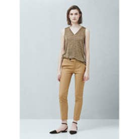 マンゴ MANGO Straight cotton trousers (medium brown)