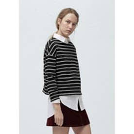 マンゴ MANGO Striped cotton-blend sweatshirt (black)