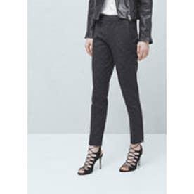 マンゴ MANGO Textured cotton trousers (black)
