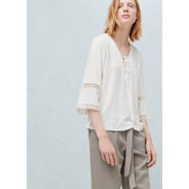 マンゴ MANGO Openwork trim blouse (light beige)
