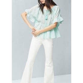 マンゴ MANGO Ruffled blouse (turquoise - aqua)
