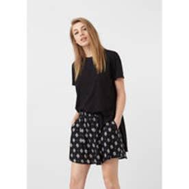 マンゴ MANGO Flowy printed skirt (black)