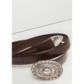 マンゴ MANGO Snake-effect belt (brown)