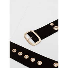 マンゴ MANGO Laser-cut leather belt (black)