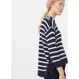 マンゴ MANGO Side slit cotton-blend sweater (navy)
