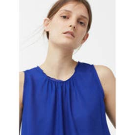 マンゴ MANGO Flowy top (medium blue)