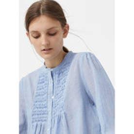 マンゴ MANGO Textured cotton blouse (medium blue)