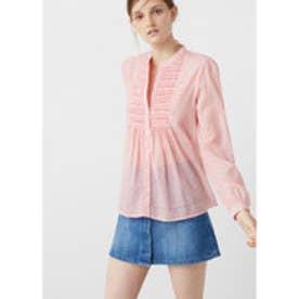 マンゴ MANGO Textured cotton blouse (pink)