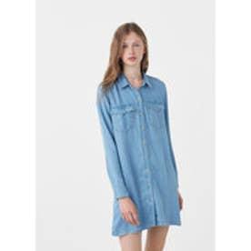 マンゴ MANGO Soft shirt dress (open blue)