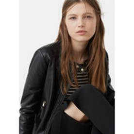 マンゴ MANGO Zip leather jacket (black)