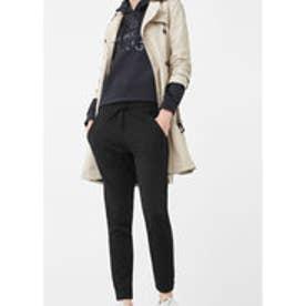 マンゴ MANGO Stretch cotton-blend trousers (black)
