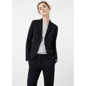 マンゴ MANGO Structured cotton blazer (black)
