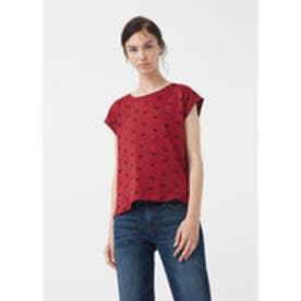 マンゴ MANGO Printed cotton t-shirt (dark red)