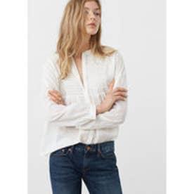 マンゴ MANGO Textured cotton blouse (white)