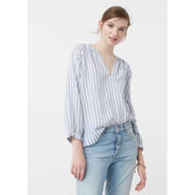 マンゴ MANGO Striped cotton blouse (medium blue)