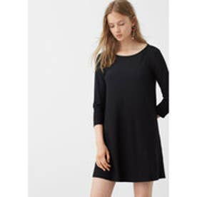 マンゴ MANGO Flowy shift dress (black)