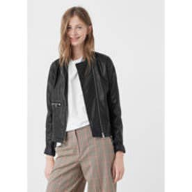 マンゴ MANGO Zipped biker jacket (black)