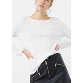 マンゴ MANGO Flecked cotton-blend t-shirt (white)