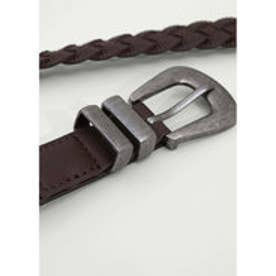 マンゴ MANGO Braided belt (dark brown)