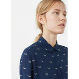 マンゴ MANGO Printed flowy shirt (medium blue)
