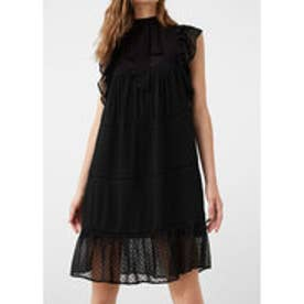 マンゴ MANGO Pleated panel dress (black)