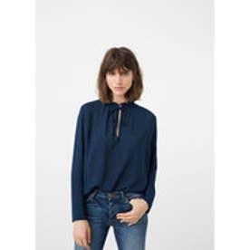 マンゴ MANGO Tie-neck blouse (dark blue)