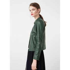 マンゴ MANGO Zip leather jacket (bright green)
