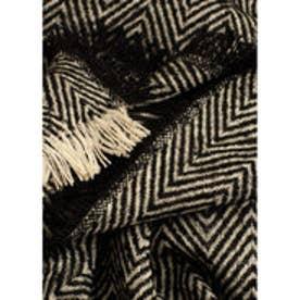 マンゴ MANGO Striped scarf (black)