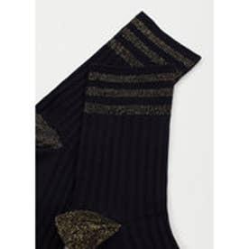 マンゴ MANGO Metal thread socks (black)