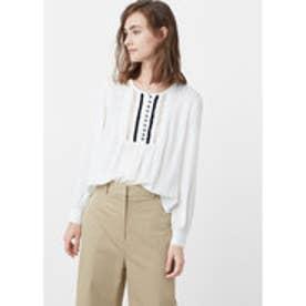 マンゴ MANGO Contrast trim blouse (natural white)