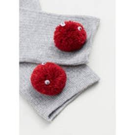 マンゴ MANGO Pompon socks (grey)