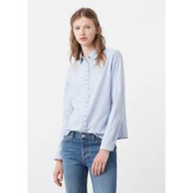 マンゴ MANGO Striped cotton shirt (lt-pastel blue)