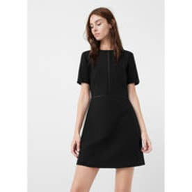 マンゴ MANGO Open-work trim dress (black)